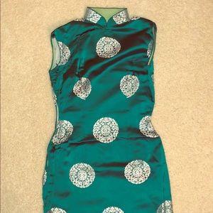 Vintage Asian Teal Cheongsam Dress | S 1960s